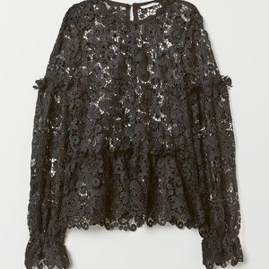 Embroidered lace with ruffles blouse
